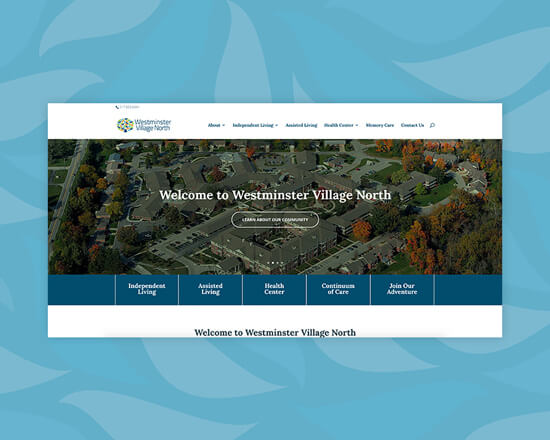 Westminster Village North website feature image